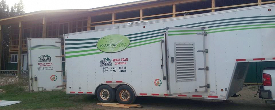 Spray foam insulation trailer